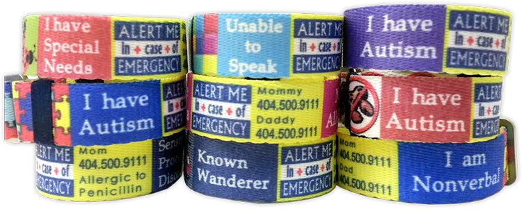 patient alert bracelet wristband tone autistic red x dp be autism please medical