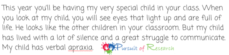 Sample Letters To Your Child's New Teacher For Apraxia Autism Or Any Special Need