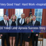 Evan (far left) with his sister Carly, President Obama, his mom (author Stacey) and dad in the oval office